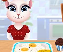 Angela Cooking Breakfeast