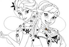 Anna and Elsa Sisters Coloring
