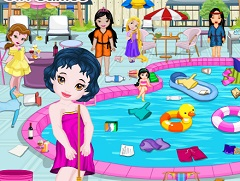 Baby Princesses Cleaning Pool