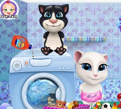Baby  Tom and Angela Washing Clothes