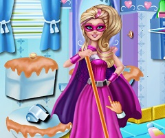Barbie Superhero Cleaning Bathroom
