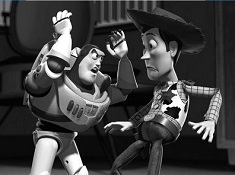 Buzz and Woody Black and White Puzzle