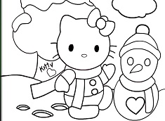 Christmas Hello Kitty Coloring