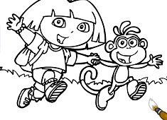 Dora And Boots Christmas Coloring - Dora Games
