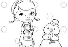 Doc McStuffin and Snowman Coloring