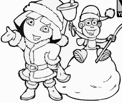 Dora And Boots Christmas Coloring