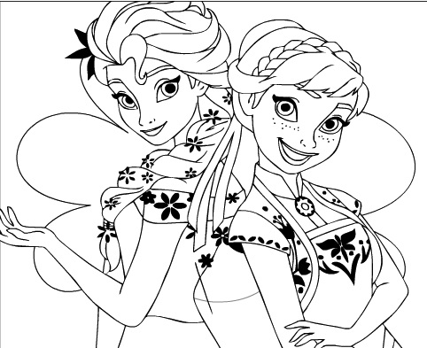 Elsa And Anna Coloring Frozen