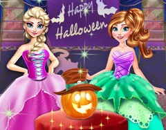 Elsa and Anna Halloween Preparation