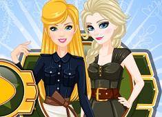 Elsa and Barbie Army Look