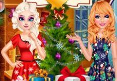 Elsa and Barbie Christmas Eve