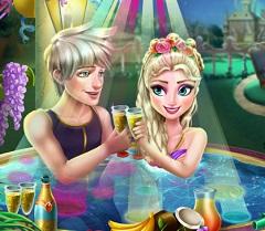 Elsa and Jack Jacuzzi Celebrating