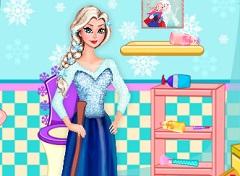 Elsa Cleaning Bathroom