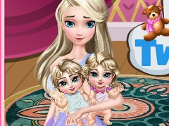 Elsa Taking Care of Twins