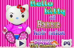 Hello Kitty at Barbie Hair Salon