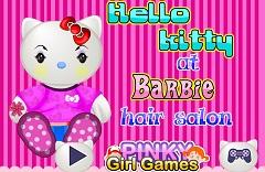 Hello Kitty at Barbie Hair Salon