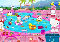 Hello Kitty Cleaning Pool