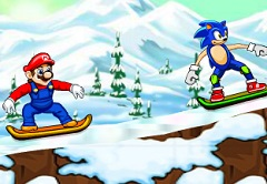 Mario vs Sonic Skiing