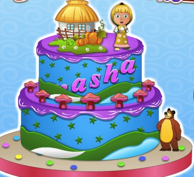 Masha and the Bear Cooking Cake
