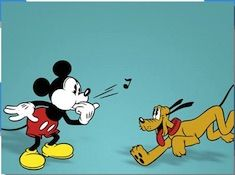 Mickey and Pluto Playing Puzzle