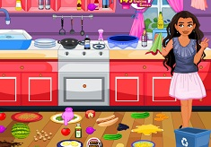 Moana Messy Kitchen Cleaning