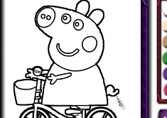 Piggy on Bike Coloring