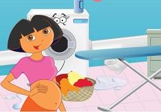 Pregnant Dora Ironing Clothes