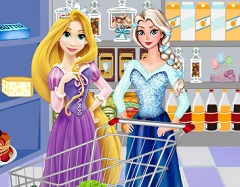 Rapunzel and Elsa Food Shopping