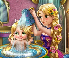 Rapunzel Bathing Baby