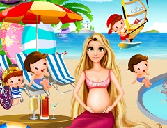 Rapunzel Pregnant at the Beach