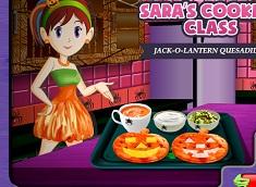 Sara Cooking Jack O Lantern Quesadillas
