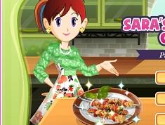 Sara Cooking Picnic Kabobs