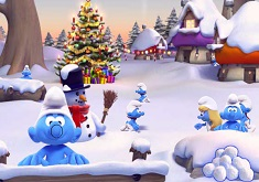 Snowball Fight with Smurfs