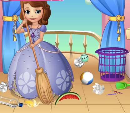 Sofia the First Doing Cleaning