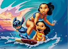 Stitch and Nani and Lilo Surfing Puzzle