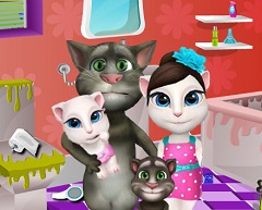 Talking Tom Family Bathroom Clean