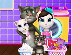 Talking Tom Family Washing Clothes